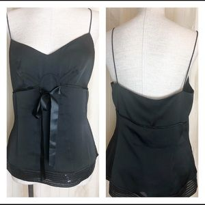 LOFT sheer black cocktail camisole. Size Large